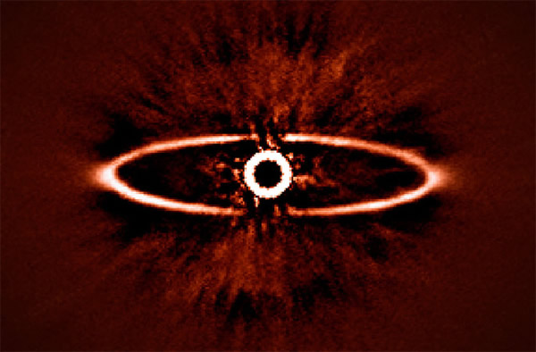 This infrared image shows the dust ring around the nearby star HR 4796A in the s