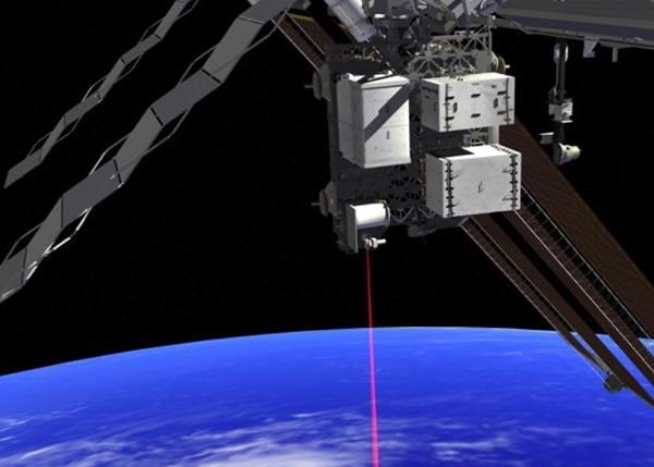 国际太空站发出的激光,传送高清短片。图为模拟图。