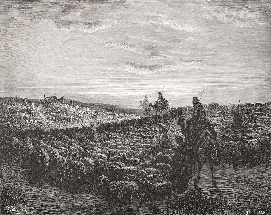 在这张19世纪的《圣经》插画中,亚伯拉罕骑着骆驼进入迦南地。