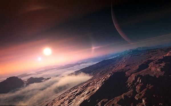 公众将可投票系外行星命名。图为一颗位于双恒星的行星构想图。