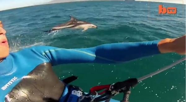 荷兰风筝冲浪手在南非开普敦飙浪时突然加入一群海豚伙伴