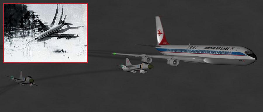 1978年4月20,大韩航空Flight 902被苏15战斗机在摩尔曼斯克击中,飞机在一个冰湖上紧急降落,大部分人员生还(107名乘客加机组),2人不幸罹难。