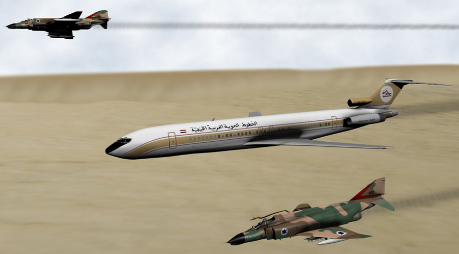 1973年2月21日,由利比亚的里波里经停班加西飞开罗的利比亚阿拉伯航空Flight 114,因天气差飞入以色列空区,被F-4幻影击中。机上113人中有5人生还