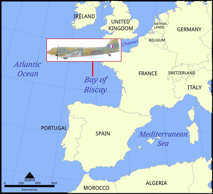 1943年6月1日,由里斯本飞往英国布里斯托的BOAC Flight 777被德国的容克Ju88s击中,坠落比斯开湾。机上人员17人无一生还,其中包括著名演员莱