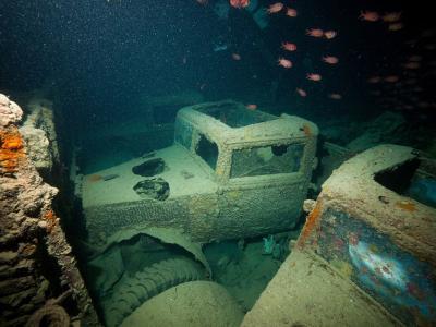 """英国潜水员探访红海海底二战沉船""""蓝蓟花号""""(SS Thistlegorm)残骸遗址"""