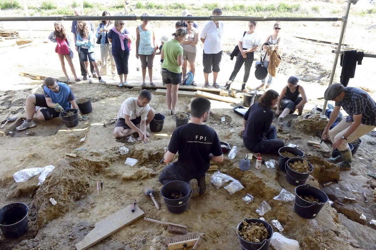 7月29日,在法国昂雅克-夏朗德,游客观看学生和志愿者在挖掘现场寻找恐龙化石。
