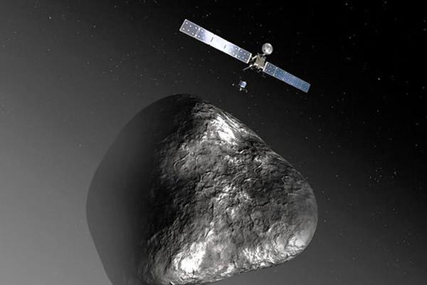 画家笔下探测船遇上彗星情况