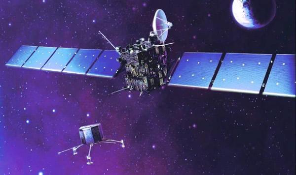 画家笔下探测船向彗星放下登陆器情景