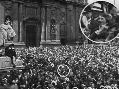 历史学家指希特勒与民众在慕尼黑广场庆祝第一次世界大战爆发照片是伪造