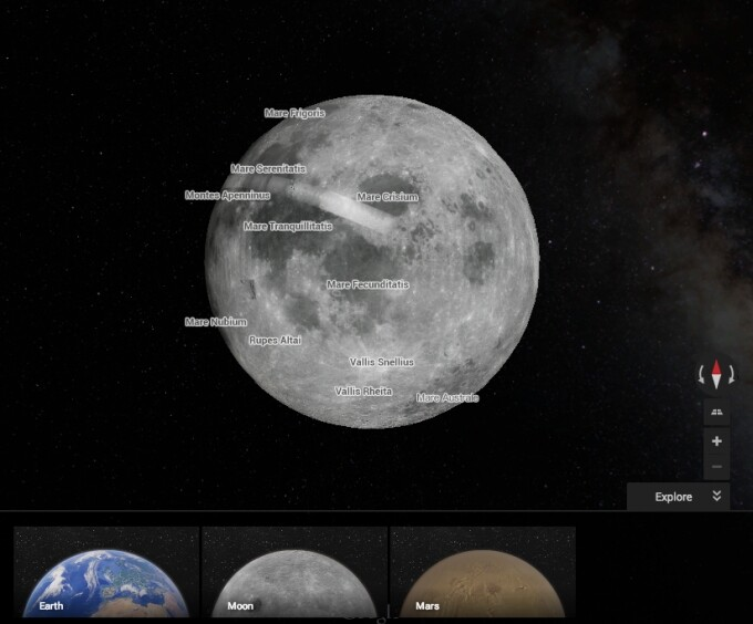 谷歌地图开辟新领域:可以用来探索火星和月球
