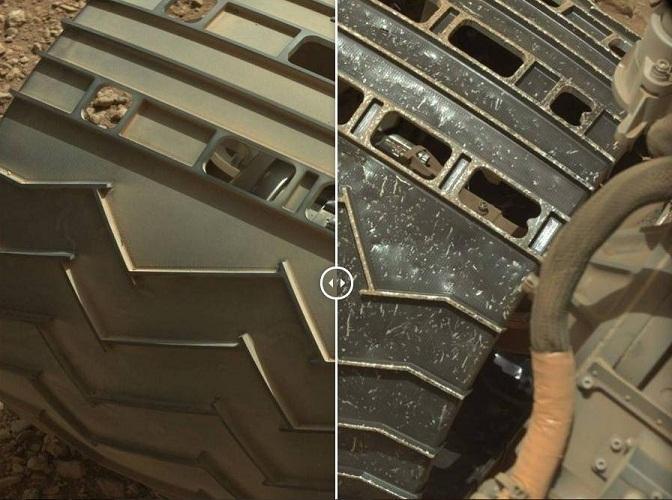 这是好奇号的车轮在火星日3天与火星日689天的对比照片
