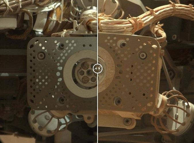这是火星日32天和火星日674天好奇号阿尔法粒子X射线光谱仪的对比照片