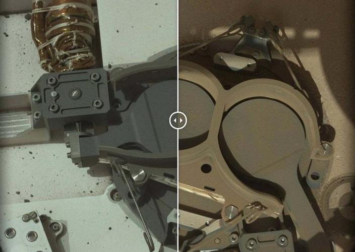 这是火星日14天和火星日653天,好奇号火星样本分析设备入口的两个盖子。