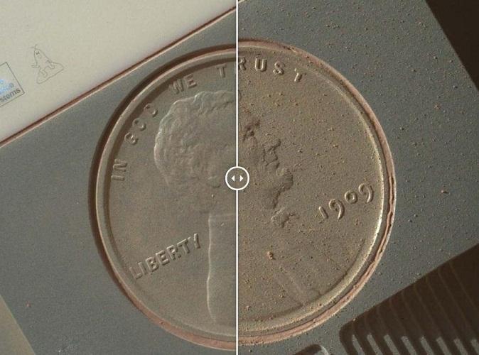 这是一枚1909年的美分硬币在火星日34天和591天的对比,这枚硬币用于校准车载摄像机。