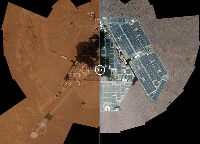 这是2014年1月和3月的火星漫游车机遇号,这是顺风带来的效果,风将灰尘吹离了机遇号的太阳能板,极大地增强了它的产能能力,而且让机遇号获得了新生。
