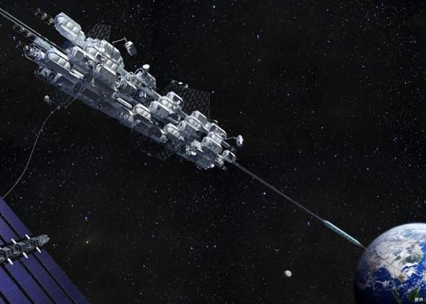 太空升降机以磁力摩打推动,全长9万6千公里。图为升降机的构想图。