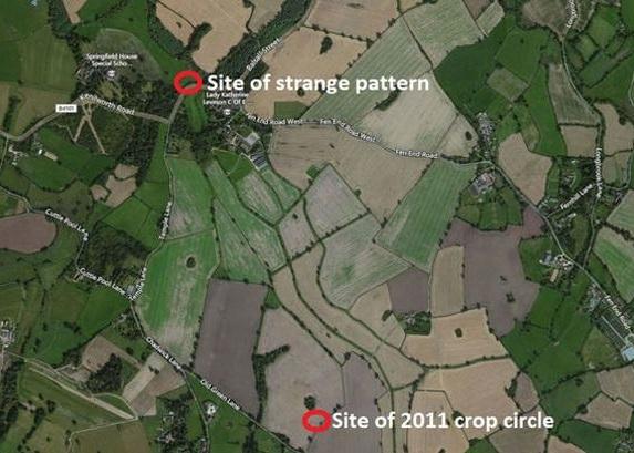 上一个麦田圈(右下角)与今次发现的(左上角)相距数百米