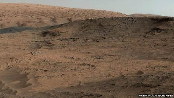 此次钻孔的地方就在这张照片的前方,沙地区域的右侧。夏普山还在前面