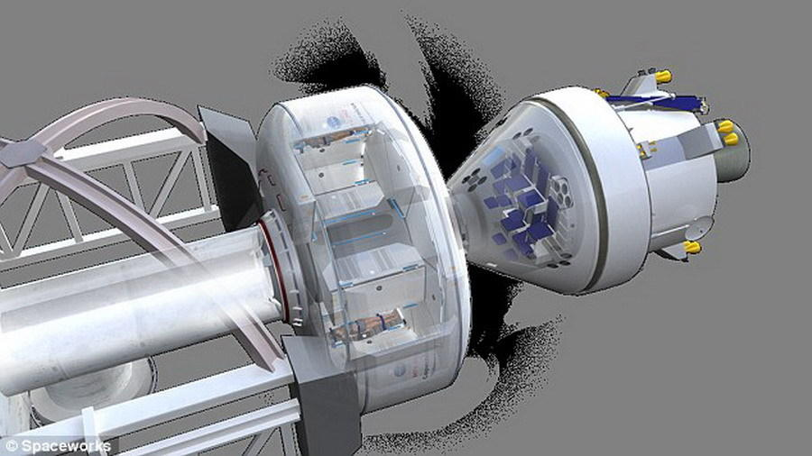 """未来火星宇航员很可能乘坐""""猎户座""""载人飞船(图中所示),今年12月,""""猎户座""""载人飞船将完成首次无人测试飞行。美国宇航局计算使用该飞行器在本世纪20年代运送宇航"""