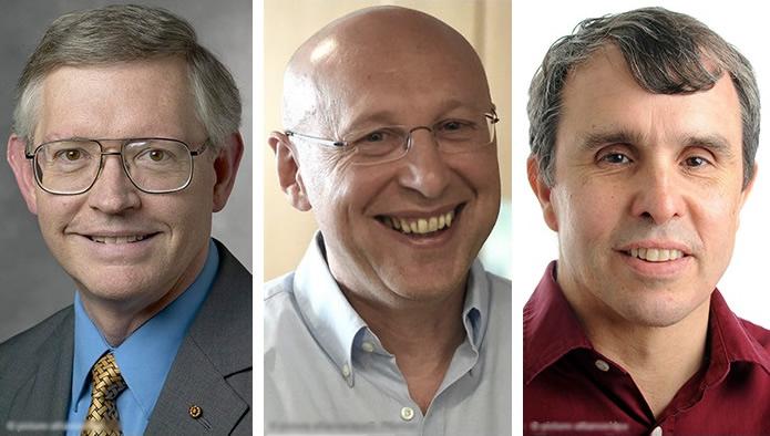 诺贝尔化学奖揭盅,由(左起)莫尔纳、黑尔、贝齐格夺得。