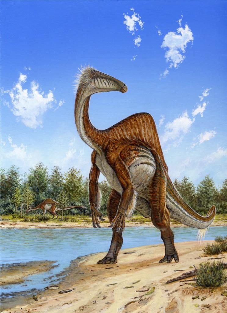 新发现的奇异恐手龙(Deinocheirus mirificus)复原图