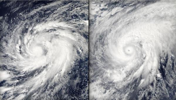 """NASA的卫星拍摄了超级台风""""鹦鹉""""的图像。图左为11月1日,图右为11月3日。"""