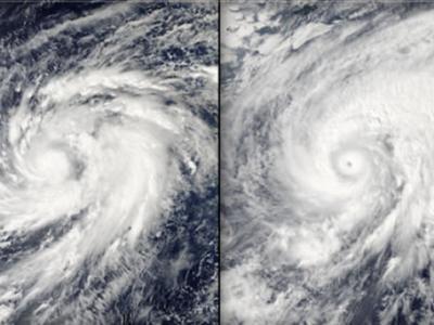 """美国宇航局的水文气象卫星从太空拍摄台风""""鹦鹉""""影像"""