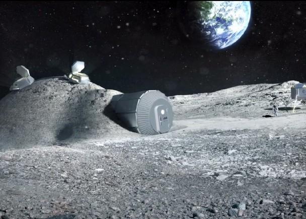 """ESA打算于月球表面设置""""充气屋"""",图为构想图。"""