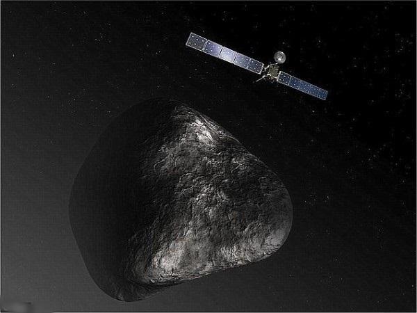 图为罗塞塔号与彗星67P接轨后的模拟图。