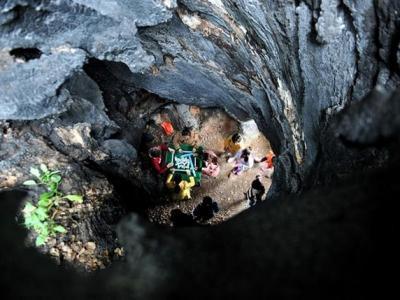江西海口村一棵1800多岁国家级古樟树根底成洞供人玩乐游览