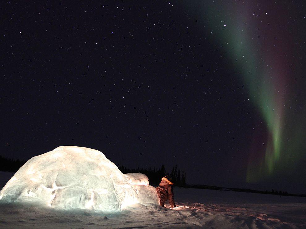 星空之舞:加拿大夜空中的北极光