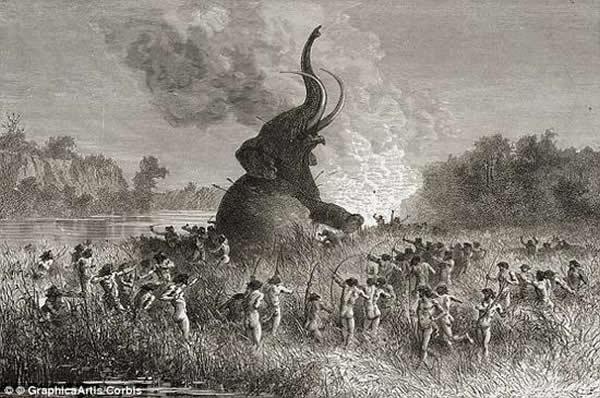 该研究确定,3万年前猛犸象是欧洲的史前饮食的一个重要组成部分,当时人类已经开始驯养狗。该图是一张艺术概念图。