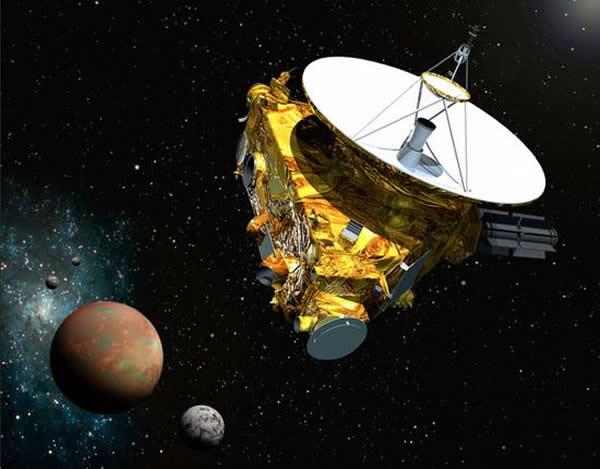 艺术示意图,冥王星和它的三颗卫星。