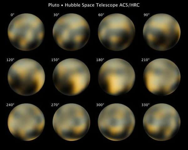 我们迄今拥有的最佳冥王星图像——由哈勃空间望远镜在2002年至2003年之间拍摄,图像中的明暗结构可能显示冥王星地表的成分变化。