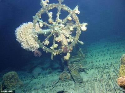 """美国潜水员在夏威夷海域发现一艘二战""""幽灵船"""""""