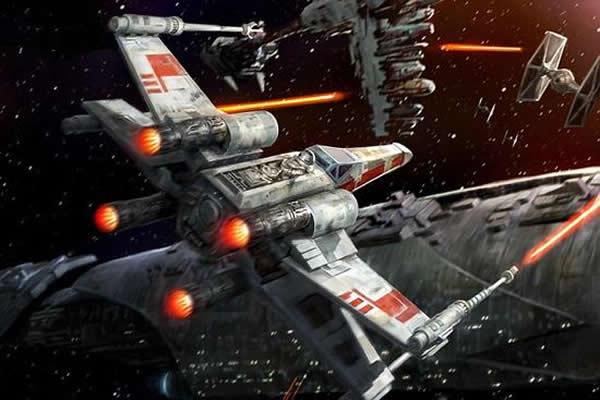 """斯克在推特中表示:""""栅格翼在上升阶段是收起的,而在重返大气层时则展开X型翼板进行姿态控制,每一个翼面都可以独立各种角度的调整。""""在电影《星球大战》中出现的X翼面"""