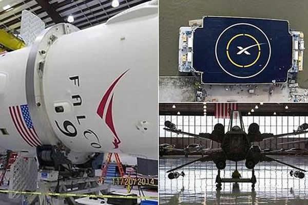 """安装在""""猎鹰""""9号运载火箭上的X翼气动结构"""