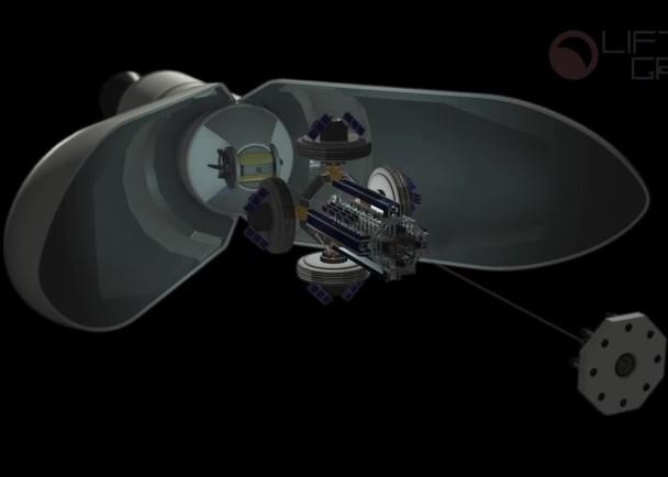 火箭配备月球升降机的太空站,送到不受引力影响的拉格朗日点后释出。太空站沿缆索发射固定钻头连接月球。太空实验室期间会展开,成为储存和运送资源的中转站。