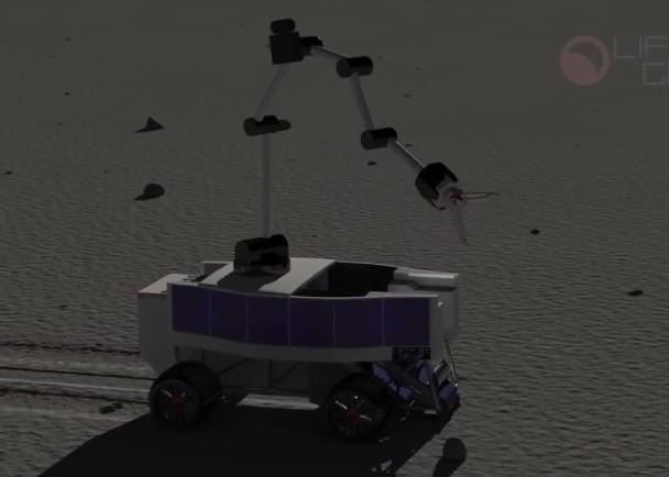升降机派出数辆配备机械臂的采探车,在月球表面滑行,开采氦3等资源及稀土,运回地球或供太空站使用。