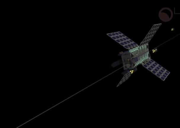 采探车搜集资源运上升降机,后者沿太空输送带飞返太空站。