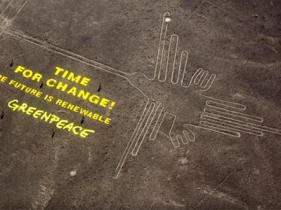 """绿色和平组织在世界文化遗产""""纳兹卡线""""(Nazca Lines)铺设标语惹非议"""