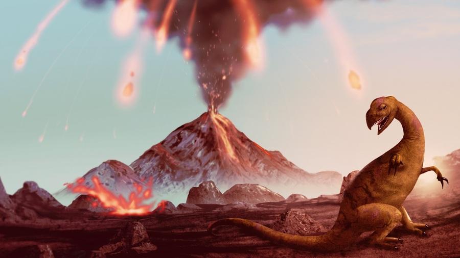 美国科学家提出:火山剧烈喷发和小行星撞击的双重打击导致恐龙灭绝