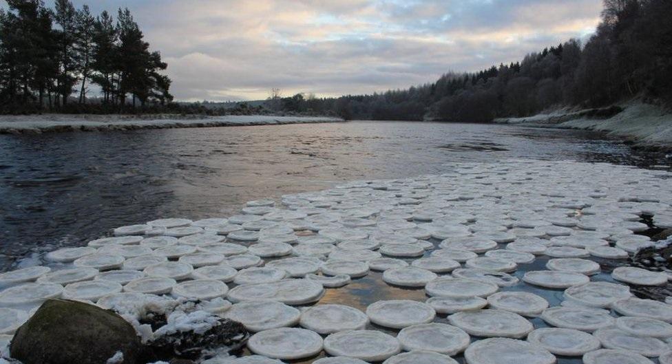 专家指泡沫爆破后,在气温急降情况下形成这些奇特的冰块。