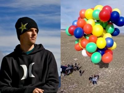 美国著名极限运动家坐氦气球吊椅升空 8千呎自由落体