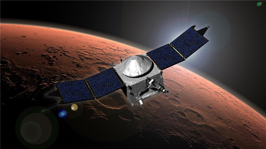 美国国家宇航局火星大气与挥发物演化任务探测器(MAVEN)的艺术概念图