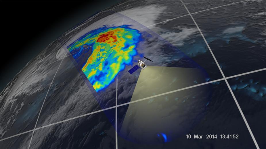 2014年3月10日,GPM微波成像仪在日本海岸观测到的温带气旋。