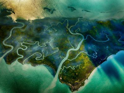 美国维吉尼亚州东部海岸的盐沼海湾——霍格岛湾(Hog Island Bay)