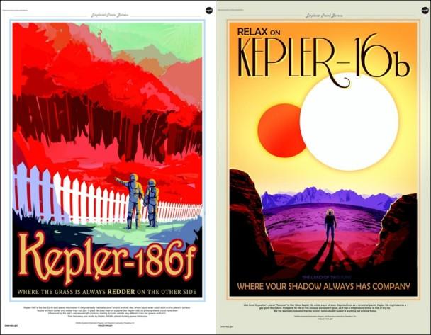 开普勒-186f星球海报(左)及开普勒-16b星球海报(右)。