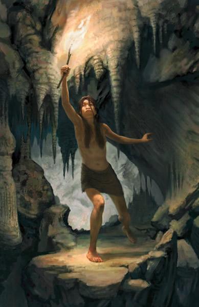 在奈亚短暂的生命中,这个洞穴大部分时候都是干燥的。她可能是在探索洞穴黑暗的通道时失足坠落身亡。 Art by Jon Foster