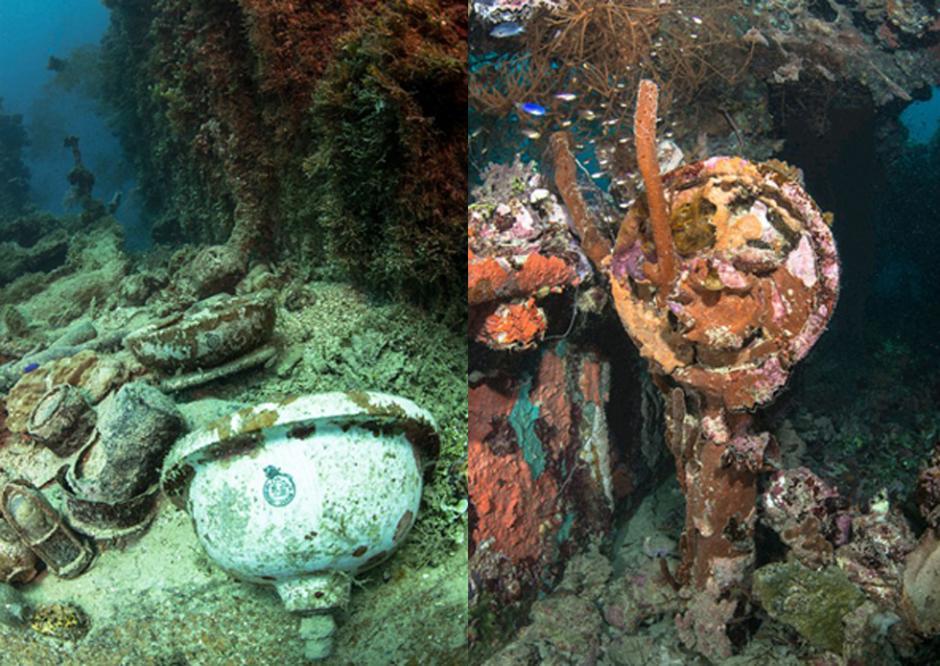 """被炸弹和鱼雷击沉的""""宽正丸""""号(Kansho Maru)残骸,右图为""""四国丸""""号(Shinkoku Maru)残骸。"""